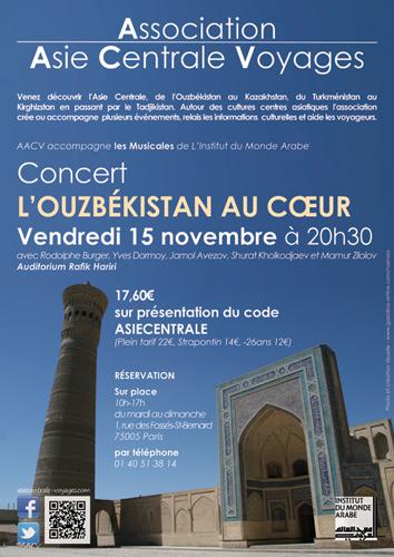 Affiche pour le concert : L'Ouzbékistan au coeur