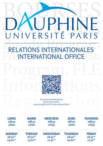 Affiche présentant les horaires du Service des Relations Internationales de l'Université Dauphine