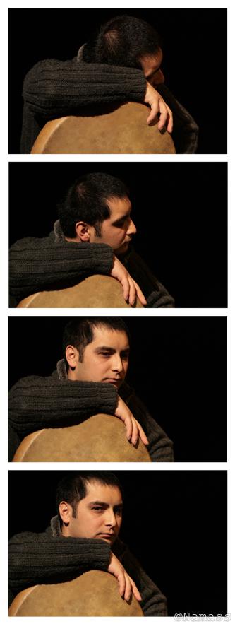 Regroupement de quatre images du percusionniste ouzbek