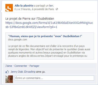 Allo la planète, commentaire FB