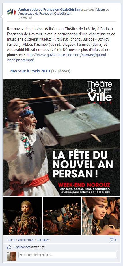 L'Ambassade de France en Ouzbékistan présente mes photos réalisées pour  Navruz, sur sa page FB