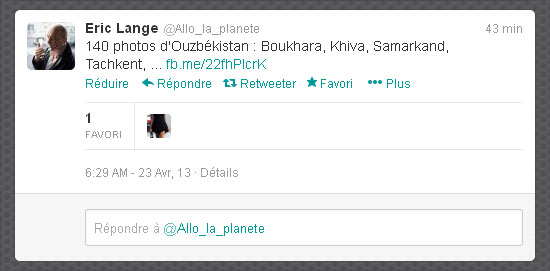 Capture du tweet d'Eric Lange