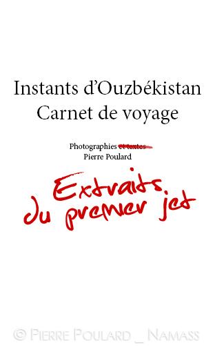 """Première page d' """"Instants d'Ouzbékistan, Carnet de voyage"""""""