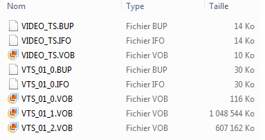 Capture d'écran des fichiers contenus par le DVD